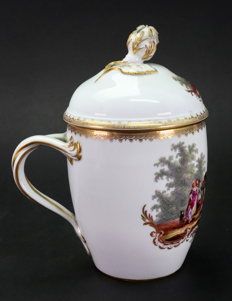 Lot 45 - A Meissen mug and cover, late 19th century, of swollen cylindrical form with entwined handle,