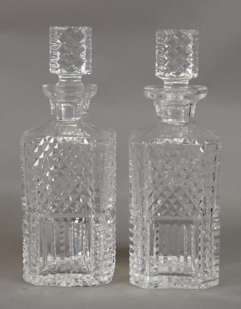 Lot 44 - A pair of Waterford square section cut glass decanters, 25cm high.
