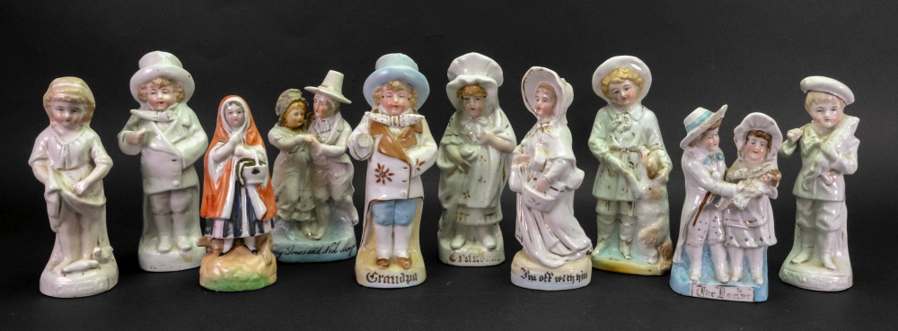 Lot 54 - A group of ten Continental figures, late 19th century, including; Jenny Jones and Ned Morgan,