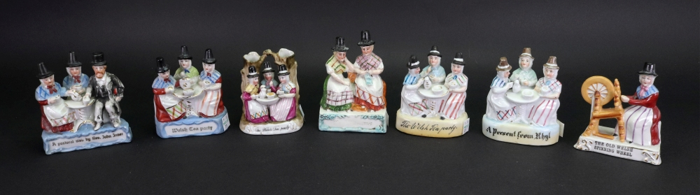 Lot 33 - A collection of seven fairings, including: A Present From Rhyl, The Welsh Tea Party, and others,