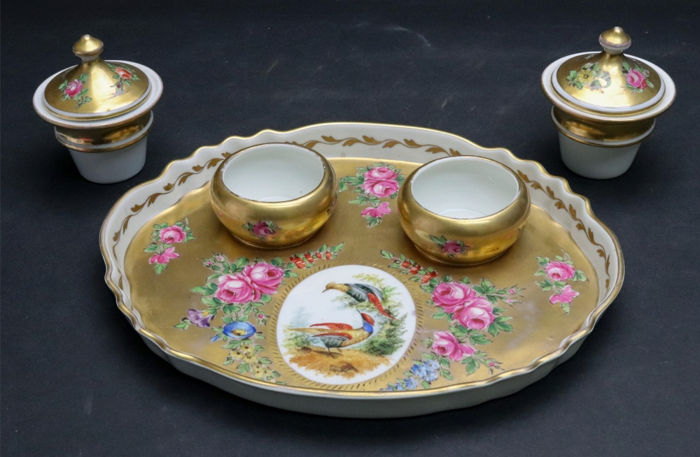 Lot 23 - A continental porcelain gilt ground inkstand, French or German, early 20th century,