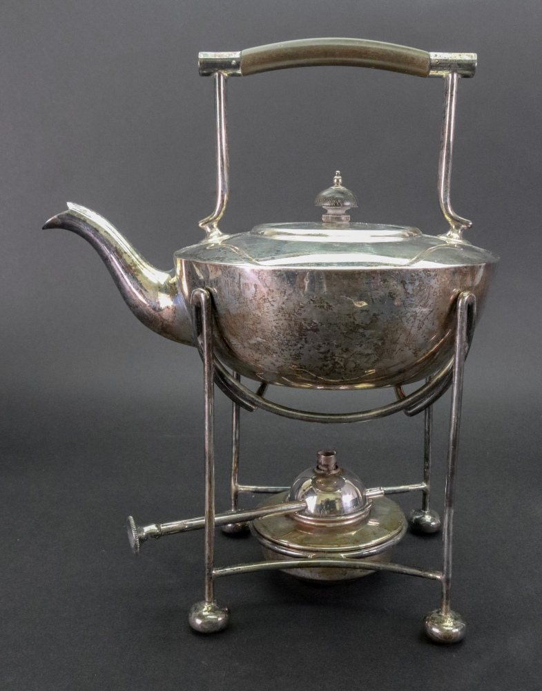 Lot 252 - An Arts and Crafts silver spirit kettle on stand, Mappin & Webb, Sheffield 1915,