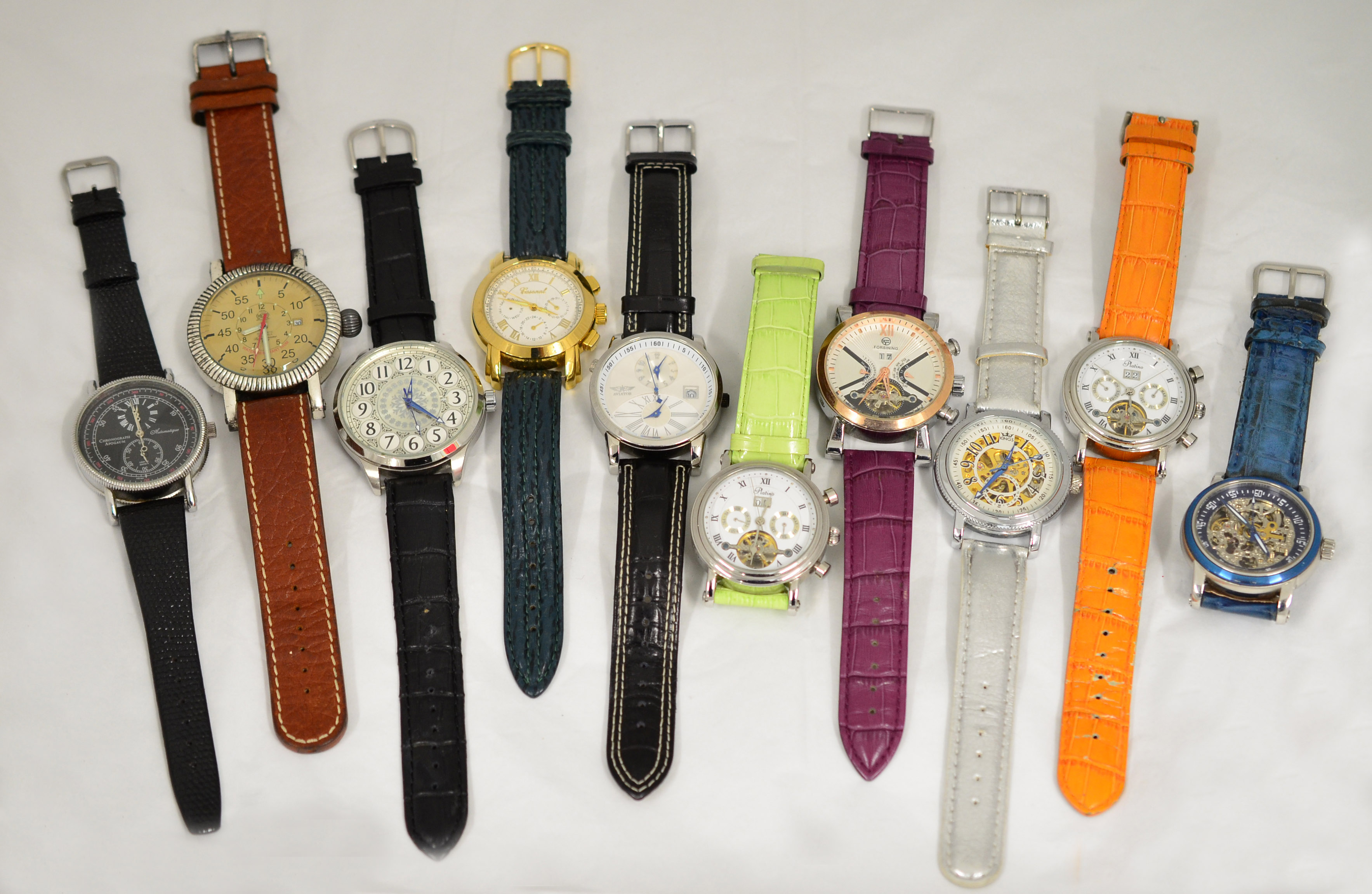 Lot 53 - A boxed quantity of 10 working automatic wristwatches.