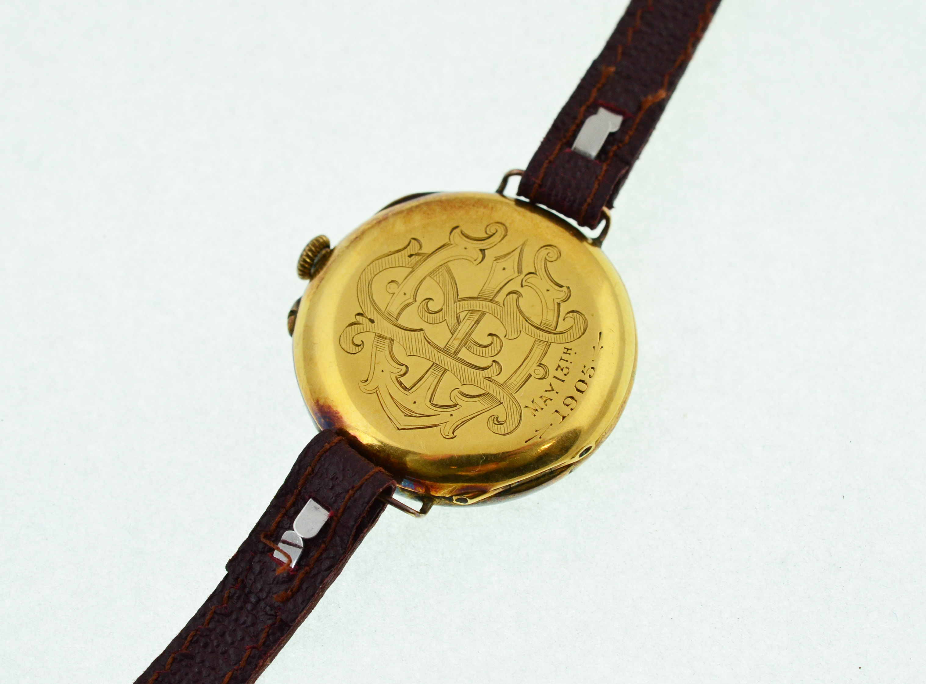 Lot 42 - A converted early 20th century fob watch, case back & dust case stamped 18k,