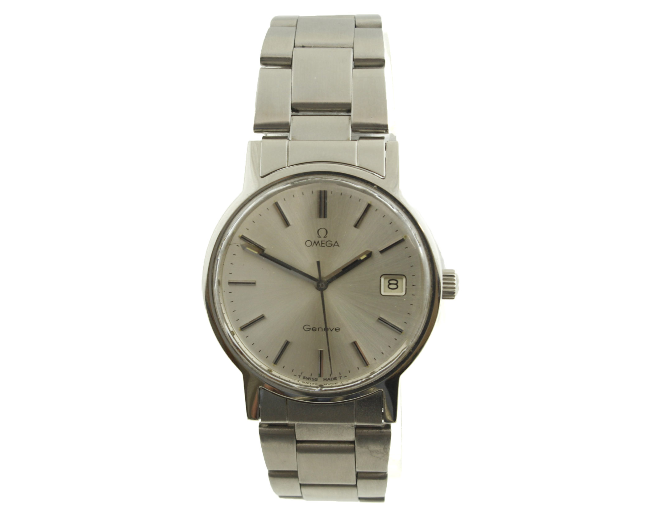 Lot 45 - OMEGA - A 1970's stainless steel OMEGA Geneve manual-wind gents wristwatch with silvered dial,