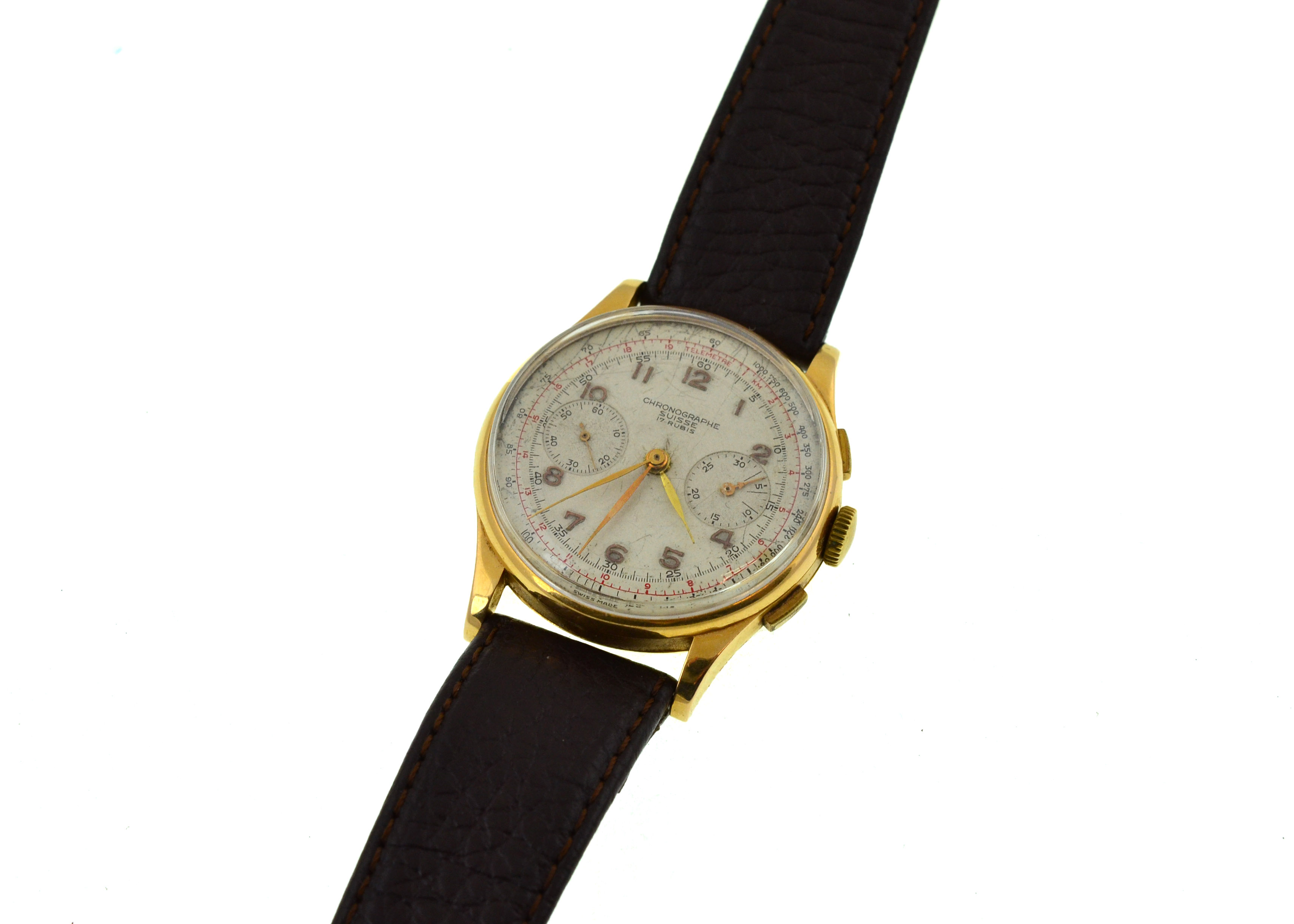 Lot 24 - A gents Chronograph Suisse 17 jewlled mechanical wristwatch, approx 40mm, stamped '18k 0.