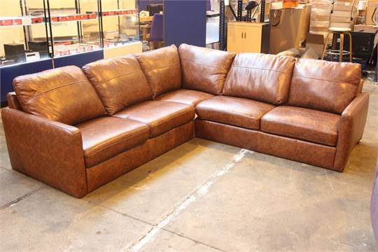 1 X DALSTON CHOCOLATE BROWN LEATHER CORNER SOFA RRP £1500