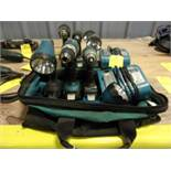MAKITA CORDLESS COMBO SET; 1/2'' DRILL, 1/4'' IMPACT WRENCH, FLASHLIGHT, AND 18-VOLT CHARGER