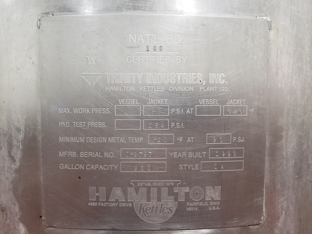 Hamilton 200 Gallon Jacketed Vacuum Scrape Surface Cooking Kettle, D   Subj to Bulk   Rig Fee: $450 - Image 2 of 4