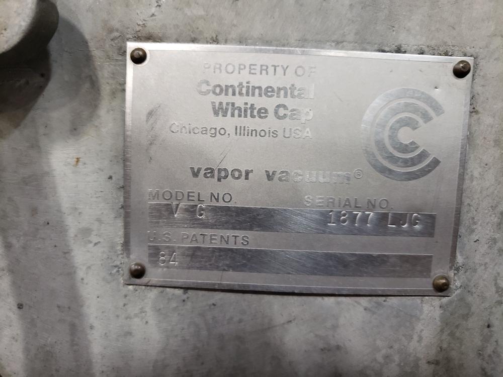 Lot 60 - Continental White Cap Vapor Vacuum Capping Machine, M# VG, Reported | Subj to Bulk | Rig Fee: $600