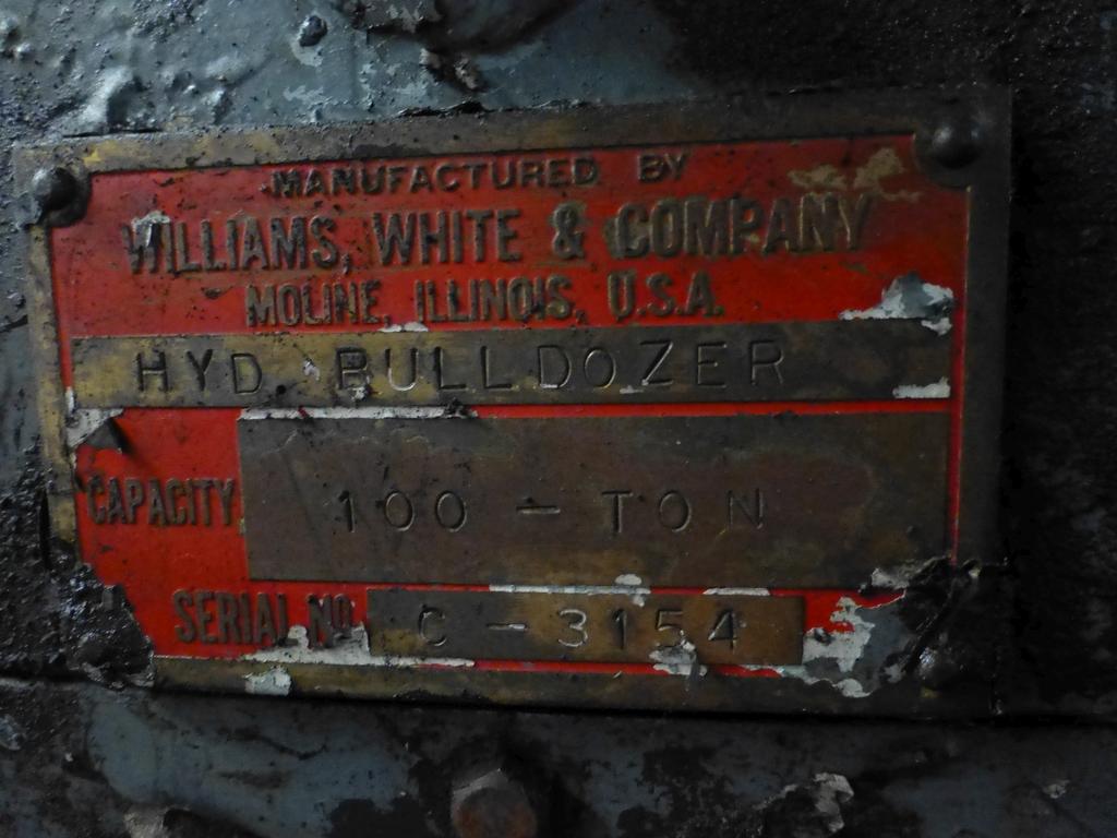 "Williams & White 100 Ton Hydraulic Bulldozer|12"" x 60"" Cross Head; S/N: 0-3154 - Image 16 of 16"