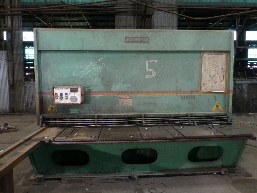 "Accurshear 10' x 1/2"" Hydraulic Shear|Model No. 850 010; Min. Clearance .002; 116"" Front Squaring"