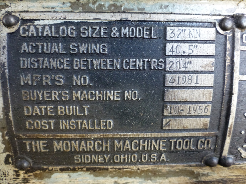 """Monarch 40"""" x 204"""" Engine Lathe Model No. 32NN; With Taper Attachment; 40"""" Actual Swing; 12"""" 3-Jaw - Image 19 of 19"""