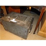 Lot 320 - A 19th century cast iron strong box