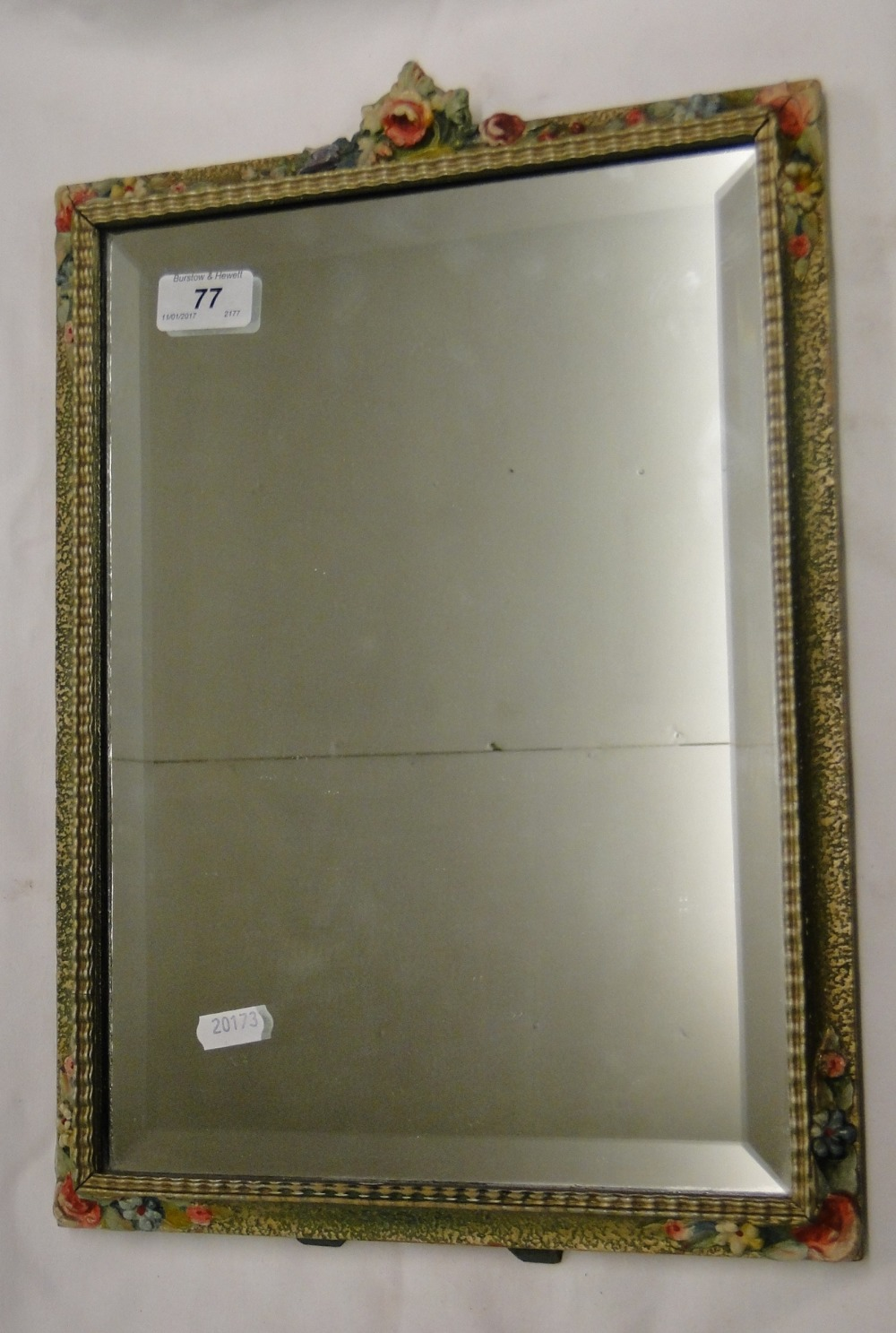 Lot 77 - A Rectangular Barbola strut mirror with floral design