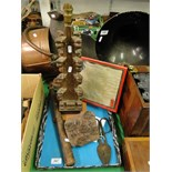 Lot 107 - A carved oak table lamp, a truncheon, indenture, glass blowers shears,