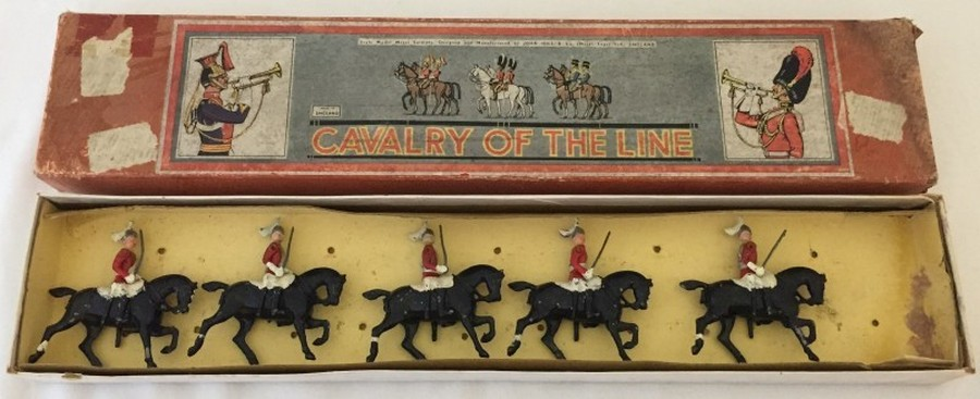Lot 10 - 5 boxed 'Johillco' Hill & Co. lead mounted Lifeguard toy soldiers.