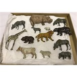 A collection of 13 lead zoo and farm animals, mostly Britains.