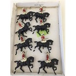 8 unboxed Hill & Co. lead mounted Lifeguard toy soldiers.