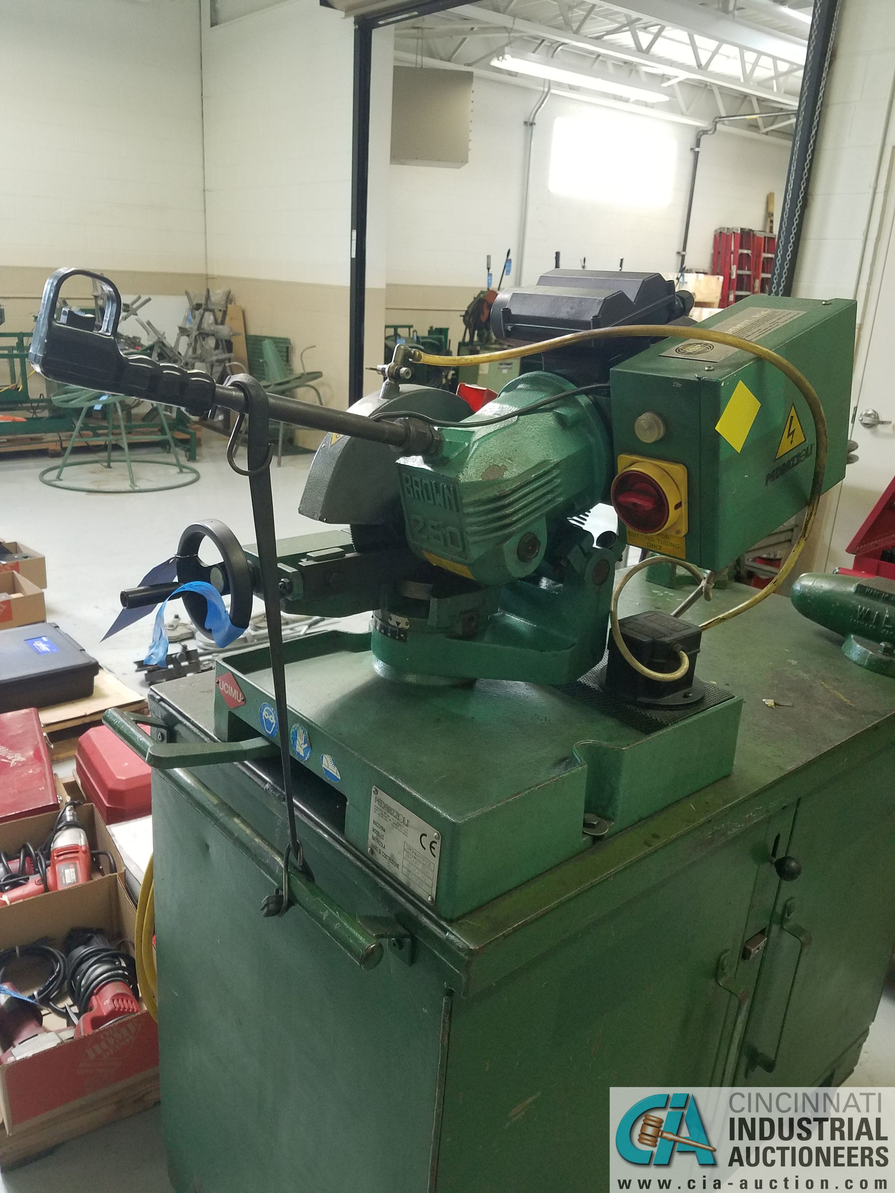 BROWN MODEL 250 TABLE MOUNTED SAW; S/N 034436, MOUNTED ON PORTABLE JOBBOX WITH 4-1/2 BENCH VISE - Image 2 of 6
