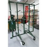 "64"" WIDE X 18"" ARM X 86"" HIGH PORTABLE TWO-SIDED HEAVY DUTY WIRE SPOOL CANTILEVER RACK"