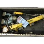 HYFERSET HYDRAULIC PRESETTING TOOL WITH HAND PUMP, HOSE, GAGE - IN WOODEN CASE