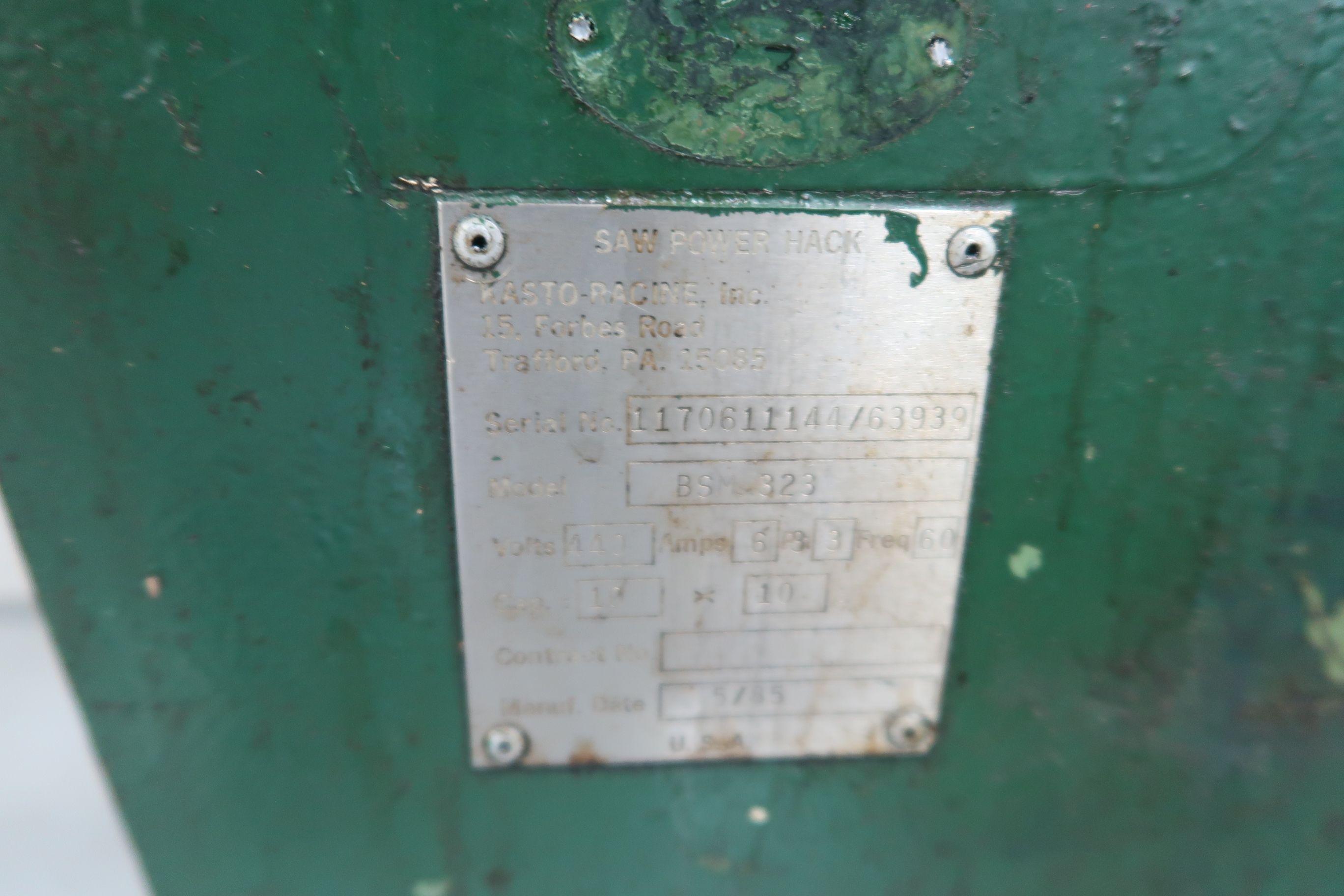 "18"" KASTO-RACINE MODEL BSM-323 RECIPRICATING HACK SAW; S/N 1170611144/63939, WITH (4) SAW BLADES - Image 4 of 7"