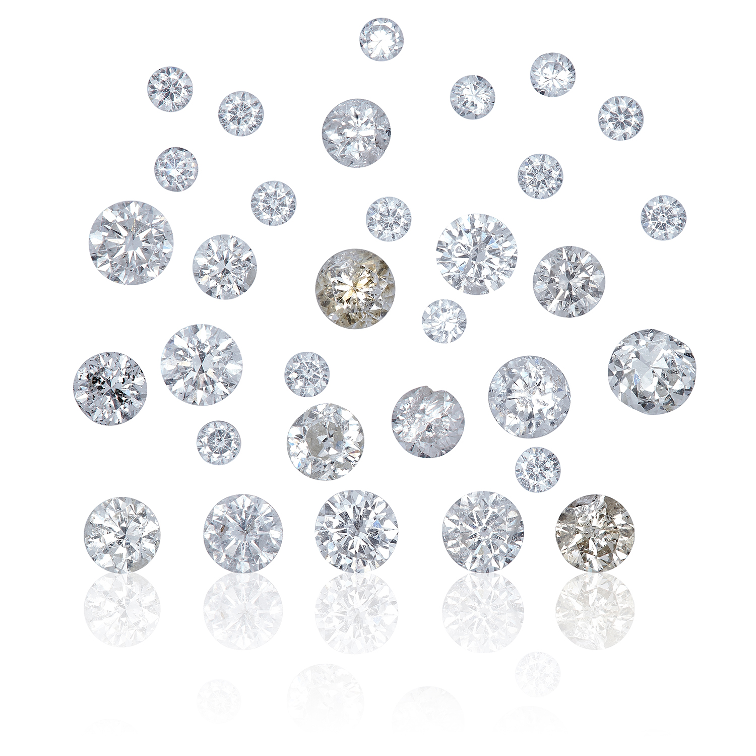 THIRTY TWO ROUND CUT MODERN BRILLIANT DIAMONDS, TOTALLING, 1.62cts, UNMOUNTED.