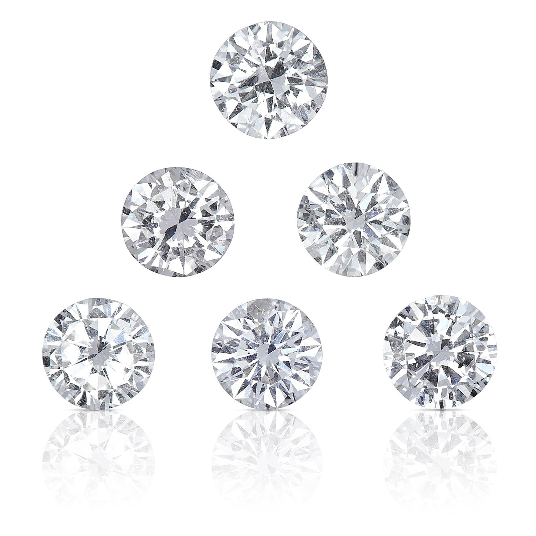 SIX ROUND CUT MODERN BRILLIANT DIAMONDS, TOTALLING 0.94cts, UNMOUNTED.