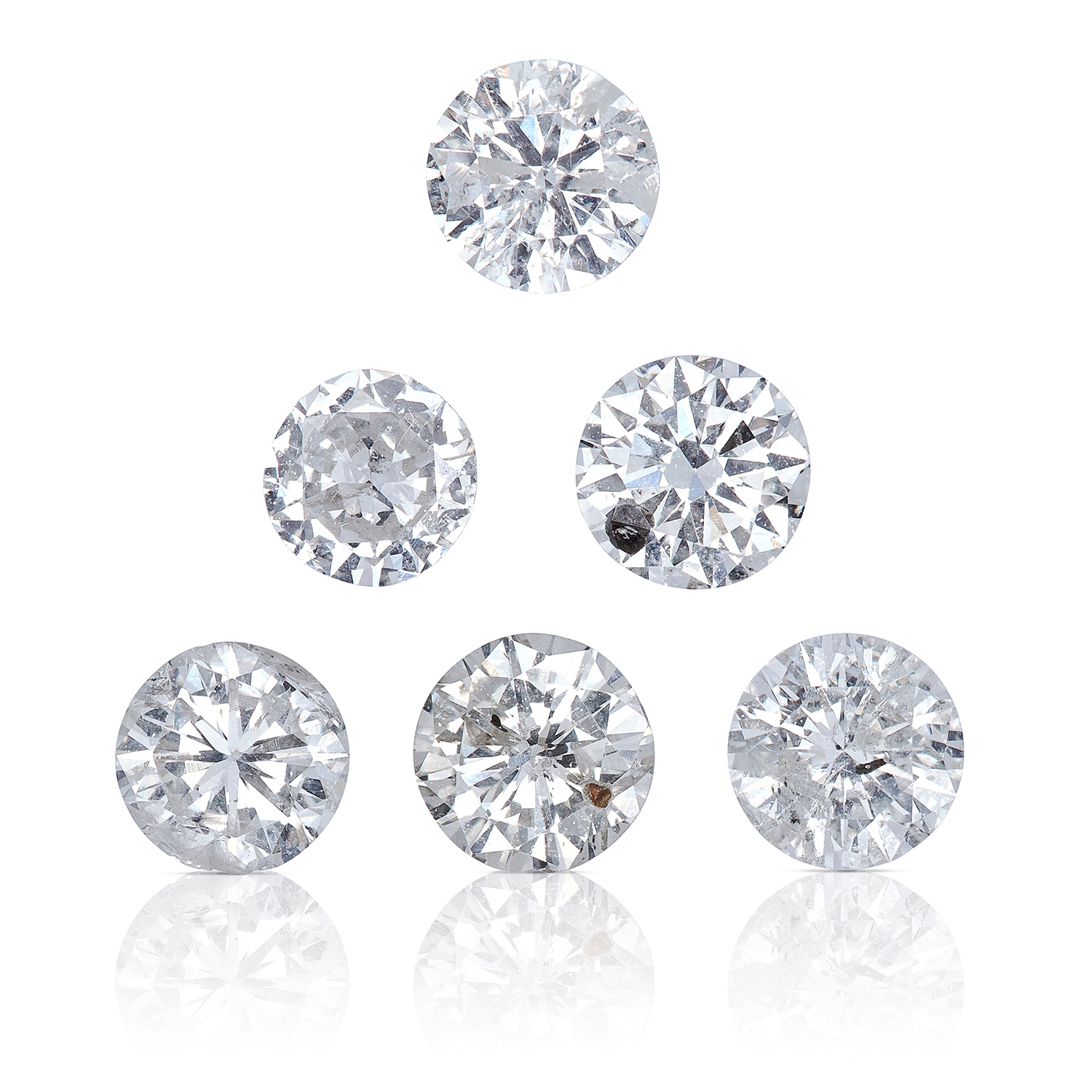 SIX ROUND CUT MODERN BRILLIANT DIAMONDS, TOTALLING 2.53cts, UNMOUNTED.