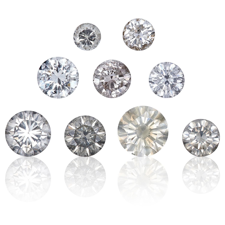 NINE ROUND CUT MODERN BRILLIANT DIAMONDS, TOTALLING 4.17cts, UNMOUNTED.