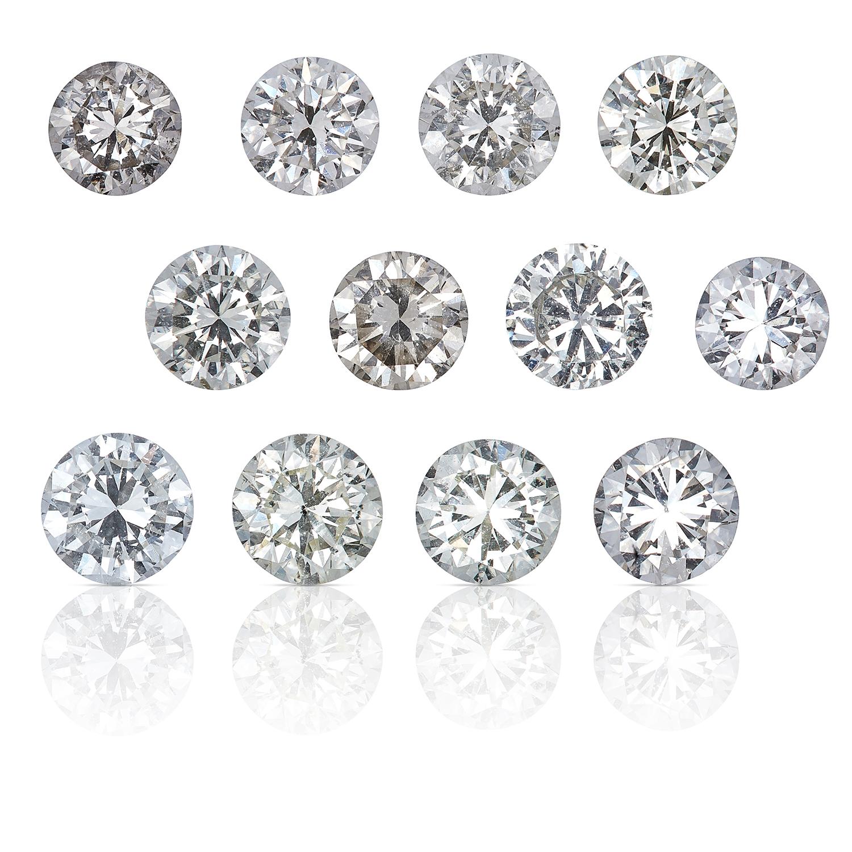 TWELVE ROUND CUT MODERN BRILLIANT DIAMONDS TOTALLING, 3.02cts, UNMOUNTED.