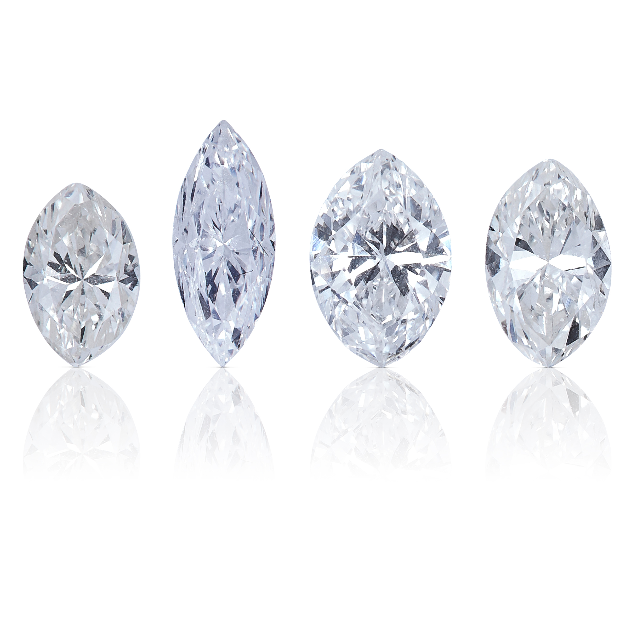 FOUR MARQUISE CUT DIAMONDS, TOTALLING 0.95cts, UNMOUNTED.