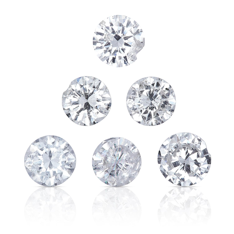 SIX ROUND CUT MODERN BRILLIANT DIAMONDS, TOTALLING 0.98cts, UNMOUNTED.
