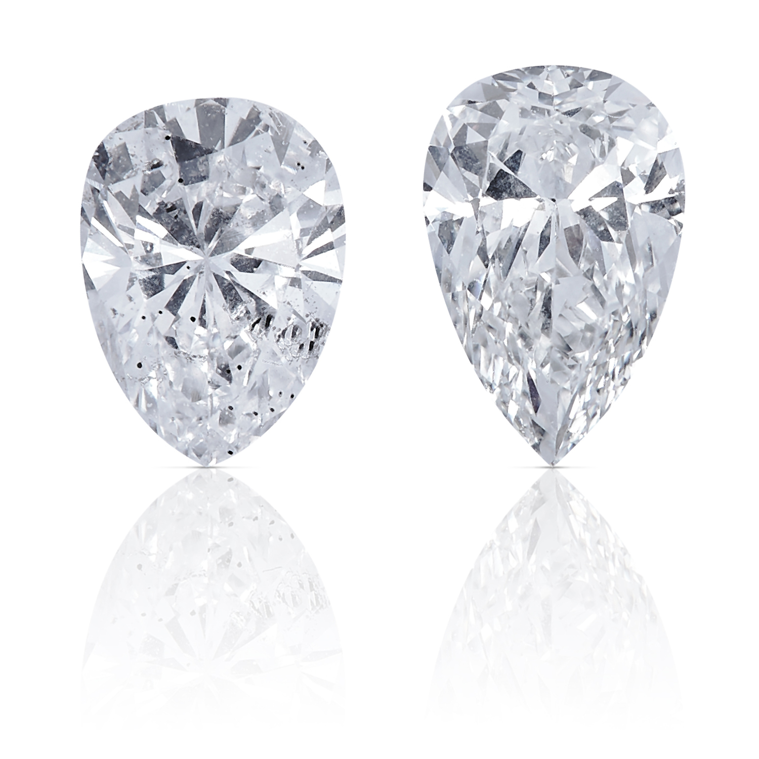 TWO PEAR SHAPED BRILLIANT CUT DIAMONDS, TOTALLING 0.55cts, UNMOUNTED