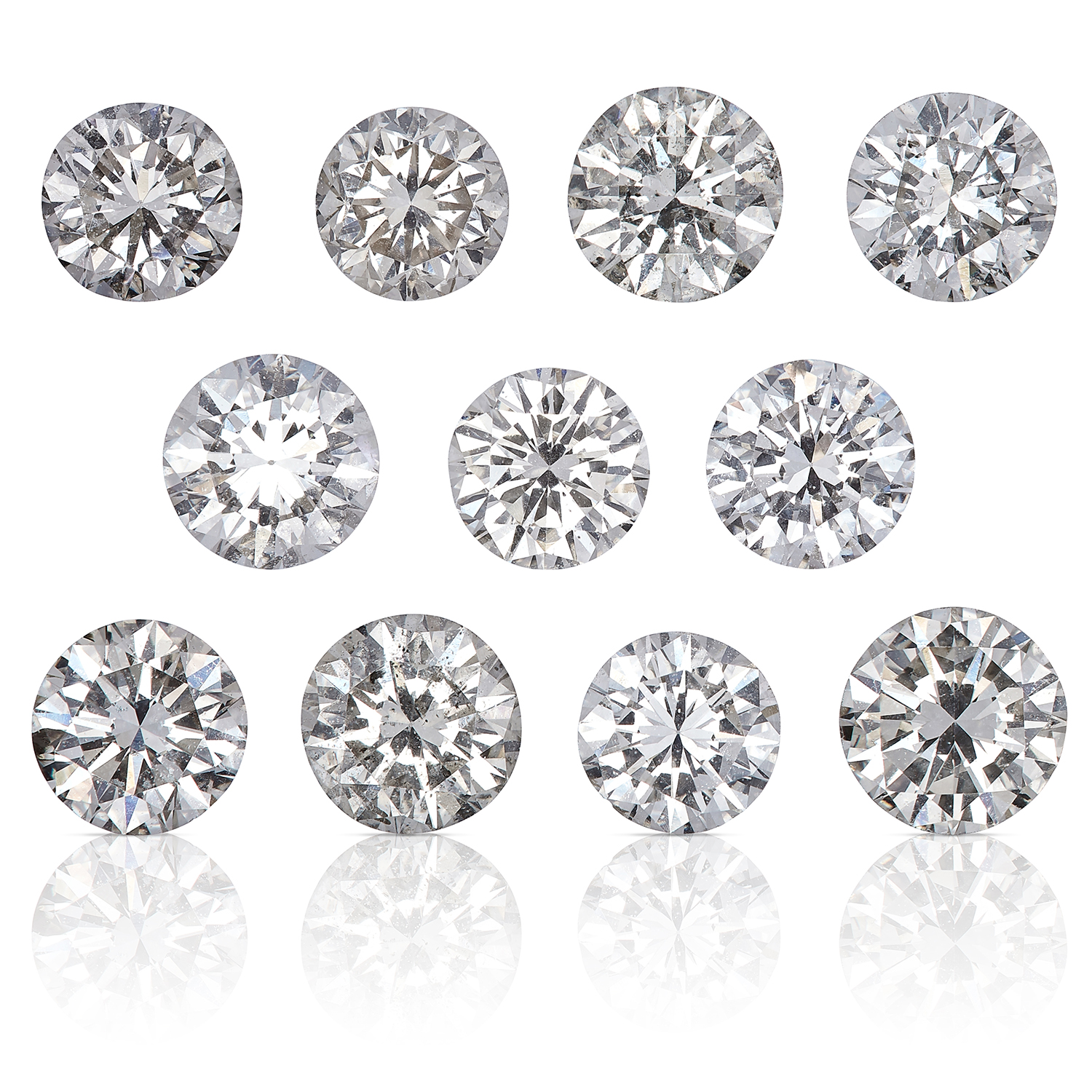 ELEVEN ROUND CUT MODERN BRILLIANT DIAMONDS, TOTALLING 3.75cts, UNMOUNTED.