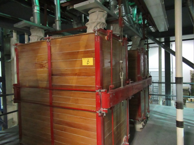 """Lot 6 - INDUSTRIAL WOODEN PLANT 42""""X64"""" APPROX. 17 PLANK TWIN ST. DUAL FLOUR SIFTER W/10 HP MOTOR APPROX. ("""