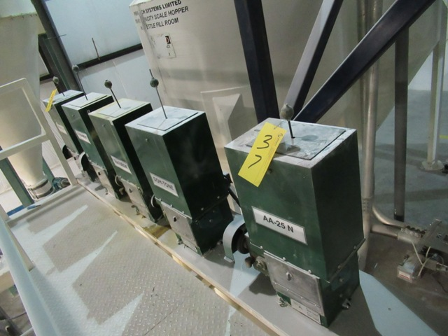 Lot 37 - LOT 5 AMERICAN PNEUMATIC A-378 TOP LOAD INGREDIENT ADDITIVE FEEDERS W/CONTROL PANEL & CATWALK (NO