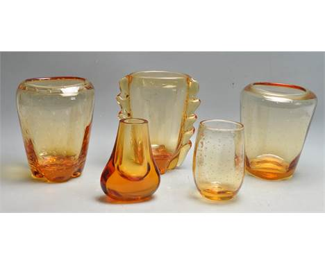 William Wilson - Whitefriars - A collection of five assorted mid 20th century retro vintage studio art glass all in the gold