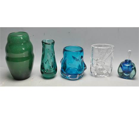A collection of retro vintage late 20th century studio art glass comprising of a Mdina scent bottle, Whitefriars 9610 aquamar