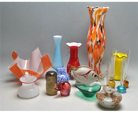A good collection of vintage and retro studio art glass to include after Ruckl1920's Czechoslovakian multi coloured gla