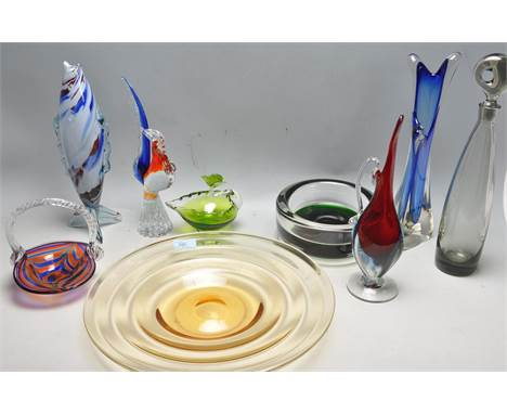 A large and impressive collection of vintage retro 20th century studio art glass to include Whitefriars bowl and dish, Murano