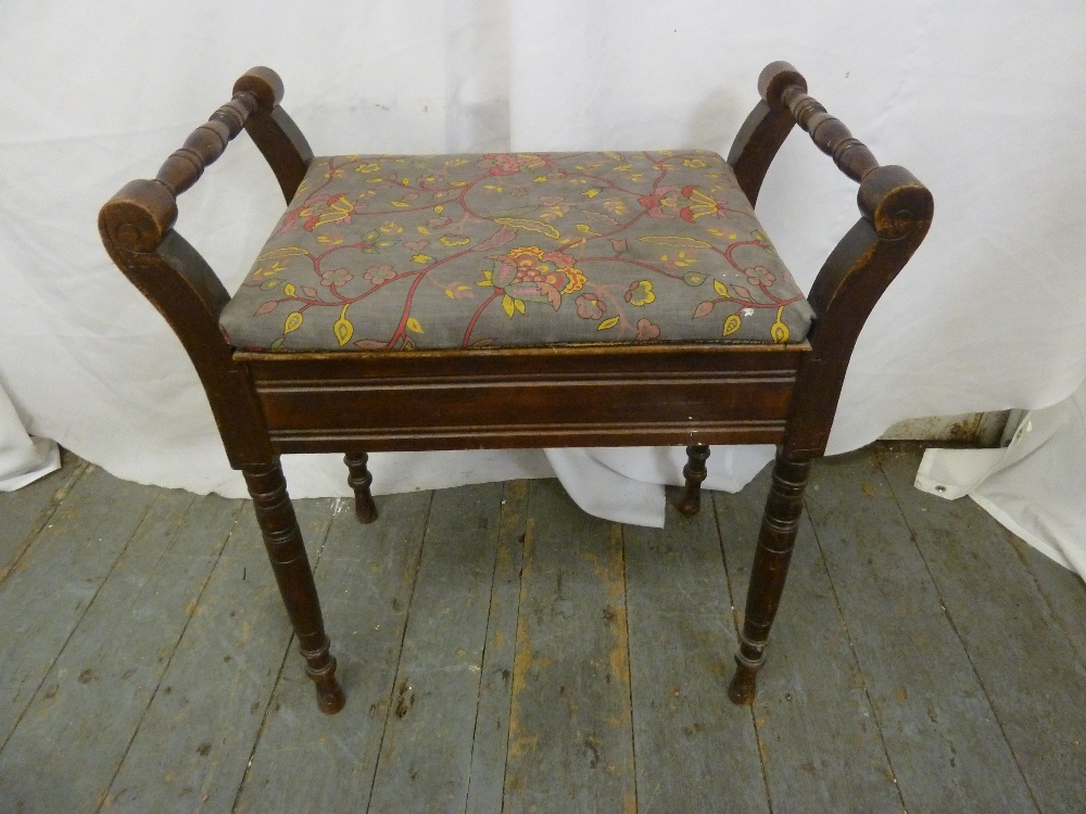 Lot 42 - A mahogany rectangular piano stool with hinged upholstered seat on four turned legs