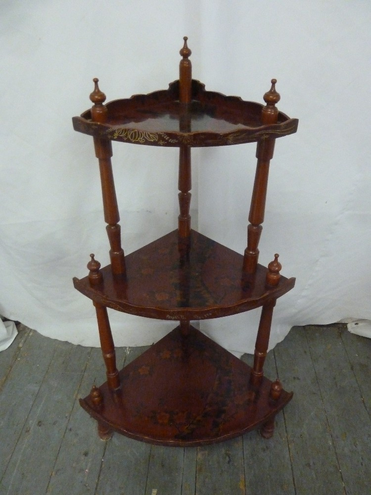 Lot 20 - A three tier painted corner whatnot with turned finials