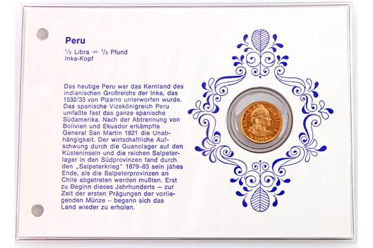 Peru - 1/2 Libra (1/2 Pfund) 1966, Inka Kopf, GOLD
