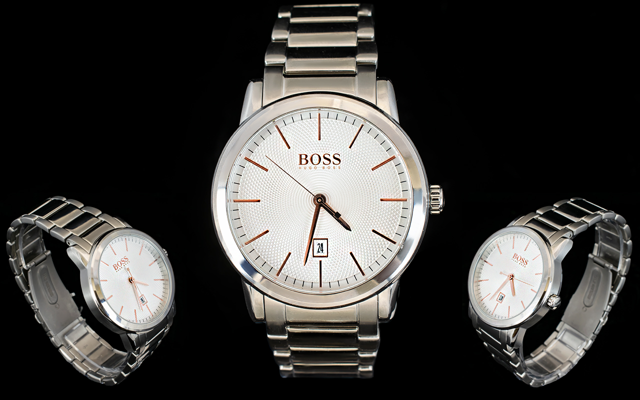 Lot 45 - Hugo Boss - Stylish Gents Classical Silver Dial Steel Watch with Push Button Deployment Folding