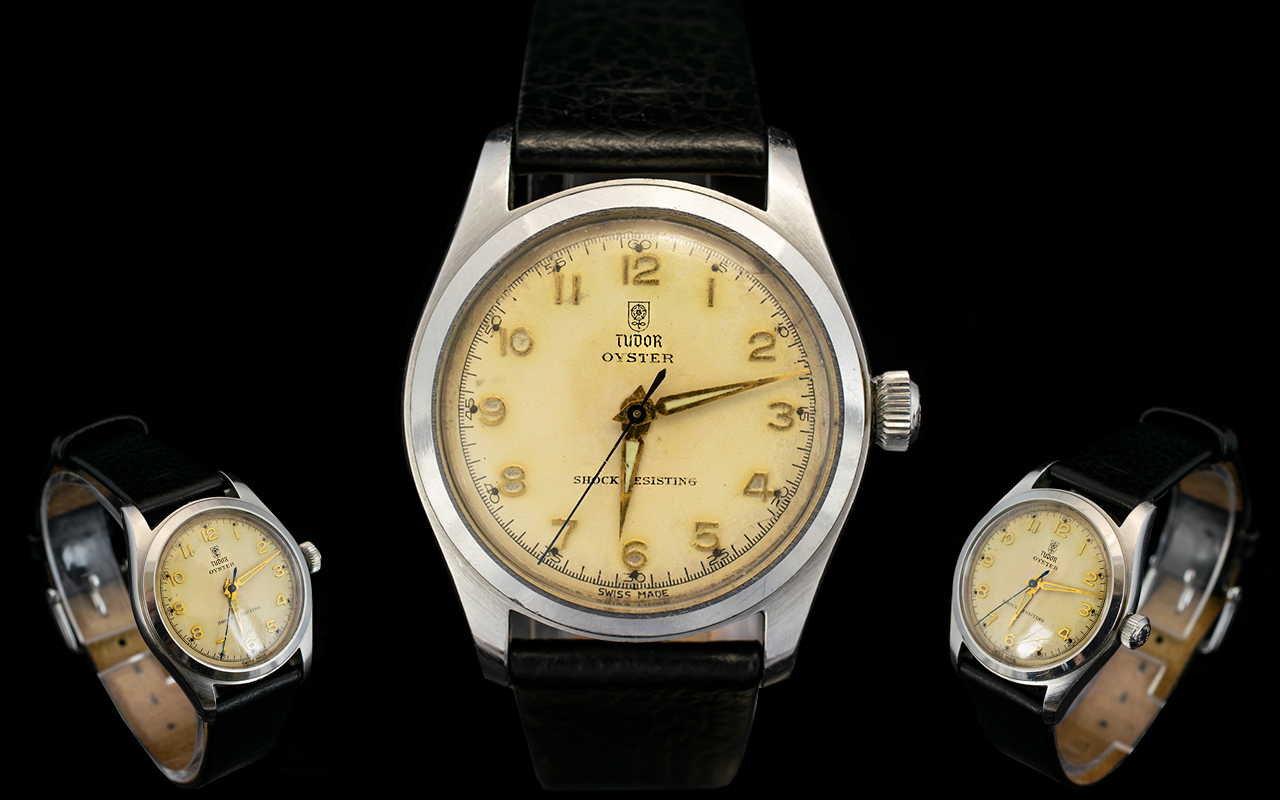 Lot 2 - Rolex Tudor Oyster Mechanical Wrist Watch Mid century watch with stainless steel case,