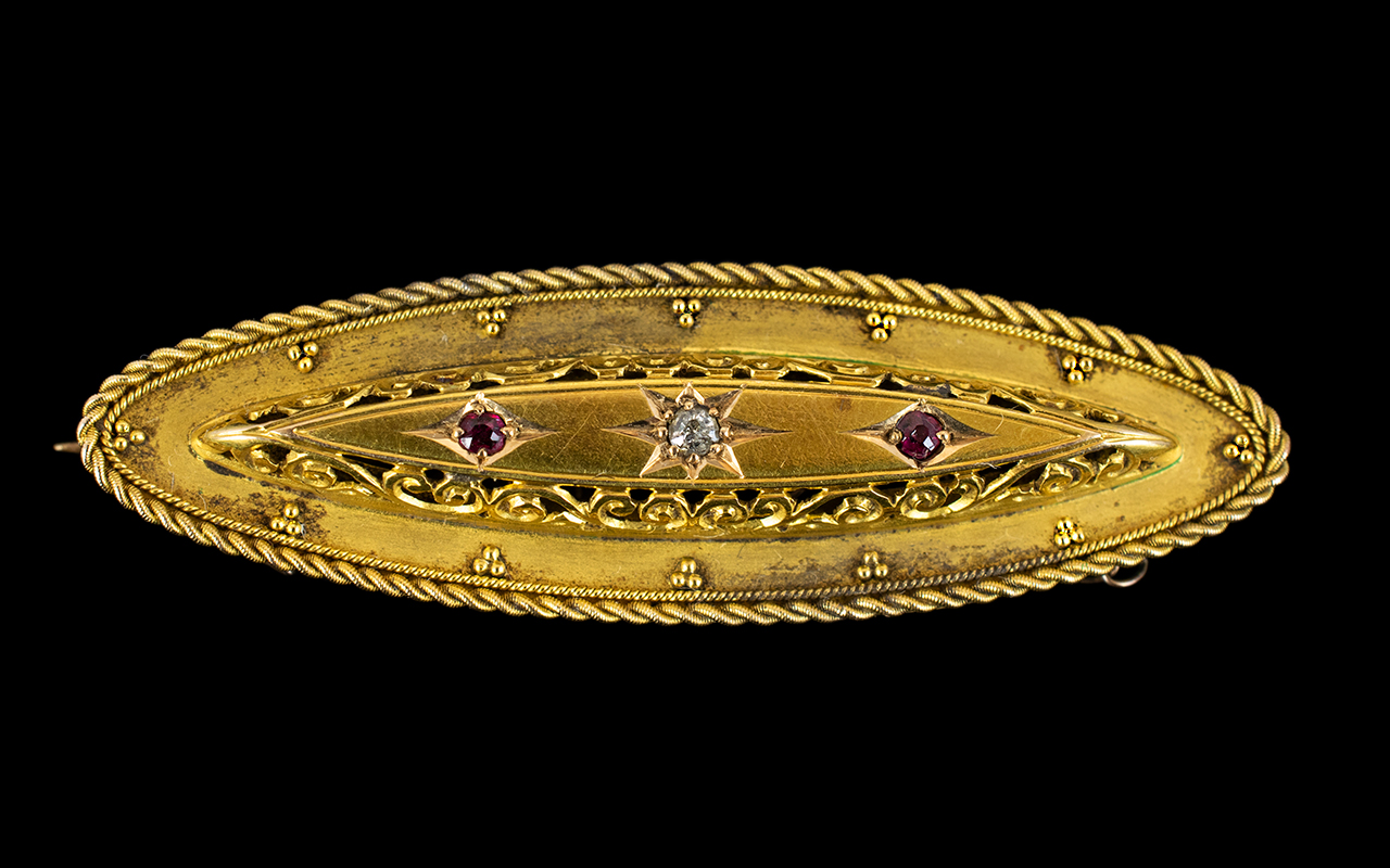 Lot 34 - Victorian Period Nice Quality 15ct Gold - Diamond and Ruby Set Ornate Brooch with 9ct Gold Safety