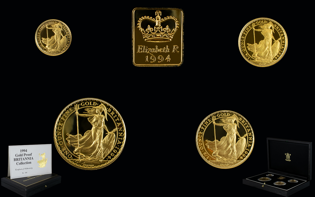 Lot 43 - Royal Mint United Kingdom Ltd and Numbered Edition Britannia Gold Proof Collection - Date 1994 ( 4