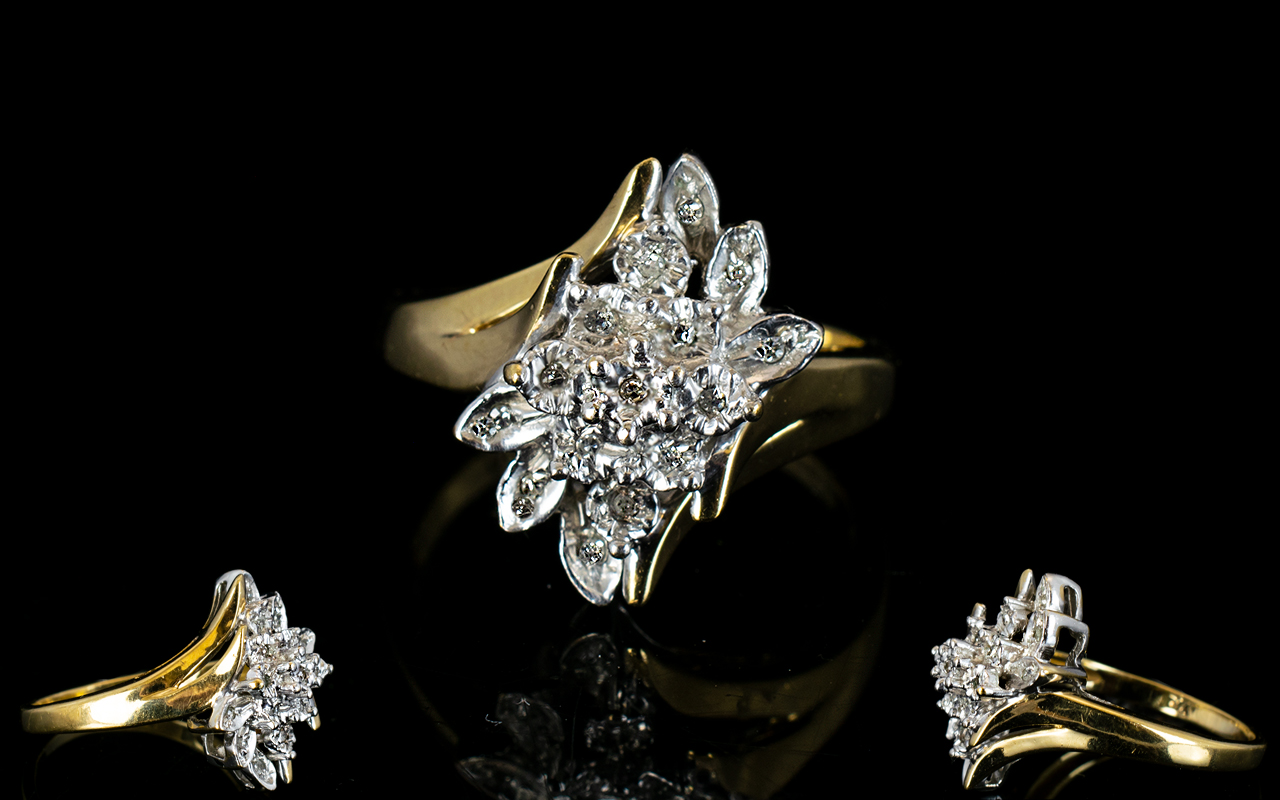 Lot 41 - Ladies 9ct Gold Diamond Set Cluster Dress Ring, Illusion Set Flower head Design. Fully Hallmarked.